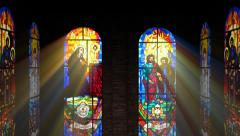 Stained glass windows. - stock footage