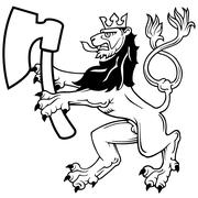 Lion with Axe Stock Illustration