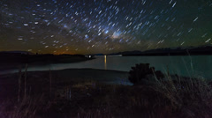 Twizel Star Trail Over Lake Pukaki 720p - stock footage