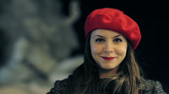 Beautiful smiling young woman  -  fountain of gian lorenzo bernini in background Stock Footage
