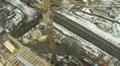 Construction crane. Slow flight. Aerial HD Footage