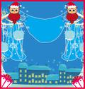 Stock Illustration of Winter card with cute owls