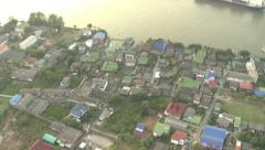 Bangkok from a helicopter with tilt from Urban to Downtown Stock Footage