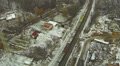 Cargo train in the winter.  Aerial Footage