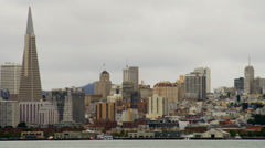 Buildings crowded together in San Francisco skyline Stock Footage