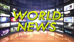 World News Text in Monitors Room, Loop Stock Footage