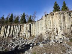 old basalt quarry in the ore mountains - stock photo