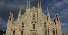 Ultra HD 4K Building Iconic Milan Duomo Square Cathedral Church Italy Milano Stock Footage