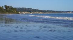 GOLETA, CALIFORNIA – SMALL WAVES ON BEACH Stock Footage