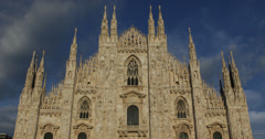 Ultra HD 4K Vintage Sculpture Facade Milan Duomo Square Cathedral Church Italy Stock Footage