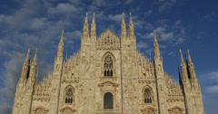 Ultra HD 4K Sunset Light Milan Duomo Square Cathedral Church Italy Skyline Stock Footage