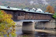 Stock Photo of covered wooden bridge