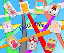 Different children's pictures Stock Illustration