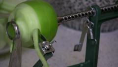 Close up Peeling Apple with Auto Peeler Core Remover Stock Footage