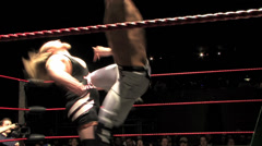 Pro Wrestling Match: Hard Kicks to Chest Stock Footage