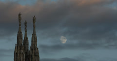 Ultra HD 4K UHD Milan Facade Cathedral Duomo Square Sculpture Statue Creepy Moon Stock Footage