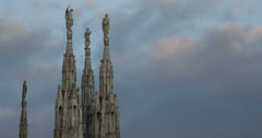 Ultra HD 4K Dusk Day Landmark Duomo Milano Gothic Cathedral Church Milan Italy Stock Footage