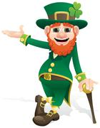 Leprechaun Presenting Stock Illustration
