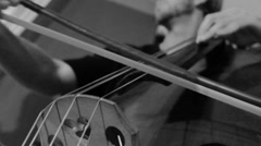 Greyscale Double Bass - Stringed musical instrument Stock Footage
