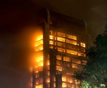 15/12/2013  guangzhou china building on fire / big fires /news Stock Photos