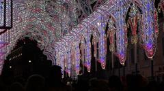 People On Lights Fairy Tunnel Stock Footage