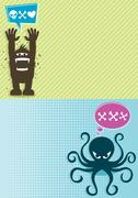 Monster Backgrounds 1 - stock illustration