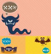 Monster Backgrounds 4 - stock illustration
