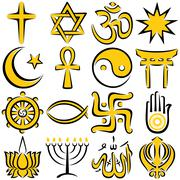Religious Symbols - stock illustration