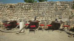 Restaurant terrace in Krk, Croatia Stock Footage