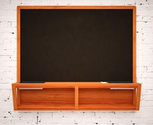 Blank Black School Chalk Board Stock Illustration