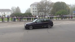 Car on slalom autocross competition and people audience Stock Footage