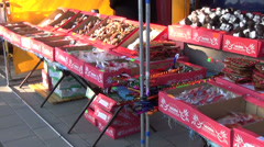 Panorama of sweets and candies on sale at market fair bazaar Stock Footage