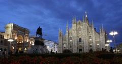 Ultra HD 4K Nightfall Lights People Shopping Vittorio Emanuele II Gallery Milan Stock Footage