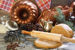 preparation of christmas cookies. - stock photo