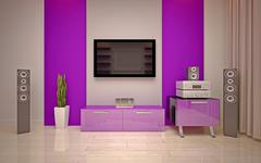Interior Design. Modern living room Stock Illustration