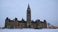 Dusk At Canadian Parliament Winter With Christmas Light Show Stock Footage