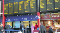 Liverpool lime street railway station train departure notice, ticket office Stock Footage