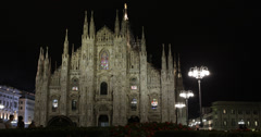 Ultra HD 4K Illuminated Nightlife Passing Cathedral Duomo Square Fashion City Stock Footage