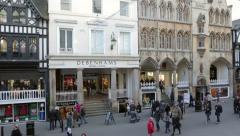 Pan of debenhams department retail store, eastgate street, chester Stock Footage