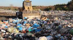 Garbage dump. Bulldozer at garbage landfill. 5 Stock Footage