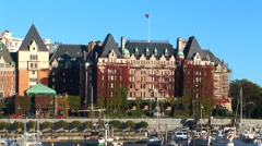 Empress Hotel and Harbor Stock Footage