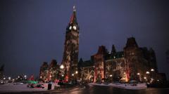 Canadian Parliament Building Winter Night Ottawa Stock Footage