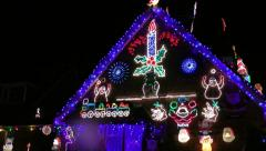 House Decorated With Colorful Christmas Lights For Christmas Holidays Stock Footage