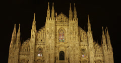 Ultra HD 4K UHD Night Lights Milan Cathedral Duomo Old Town Fashion Capital City Stock Footage