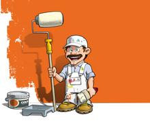Stock Illustration of handyman - wall painter white uniform