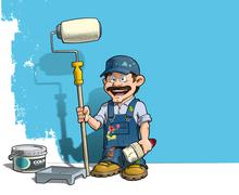 handyman - wall painter blue uniform - stock illustration