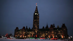 Winter Night Canadian Parliament Hill Christmas Lights Stock Footage