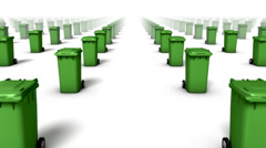 Dolly forward over many Trash Cans to none (Green) Stock Footage