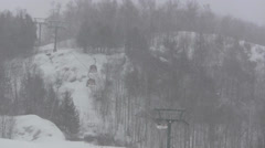 Cable Car on Foggy Ski Slope - stock footage