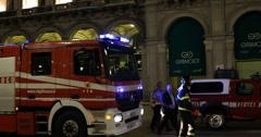 Ultra HD 4K Fire Truck Firefighters Emergency Ambulance Police Car Duomo Night Stock Footage